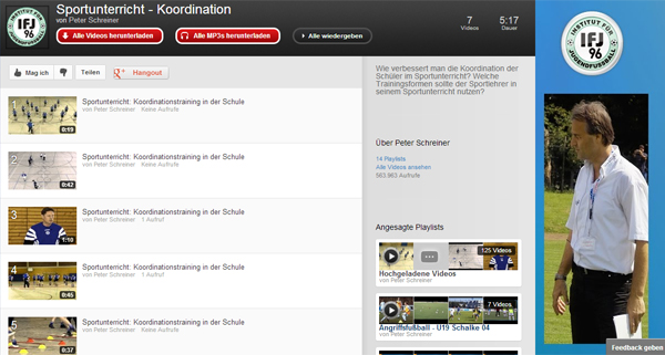 Sportunterricht - Youtube Playlist Koordination in der Schule